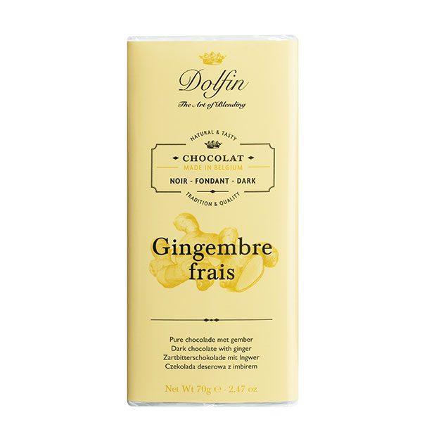 Schokolade mit frischem Ingwer Dolfin Belgien 70 g Vinothèque Véronique