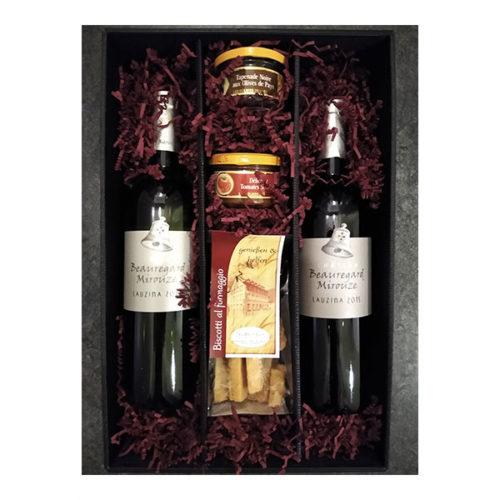 Präsent Rotwein Weißwein Käsegebäck Kundengeschenk Weihnachten